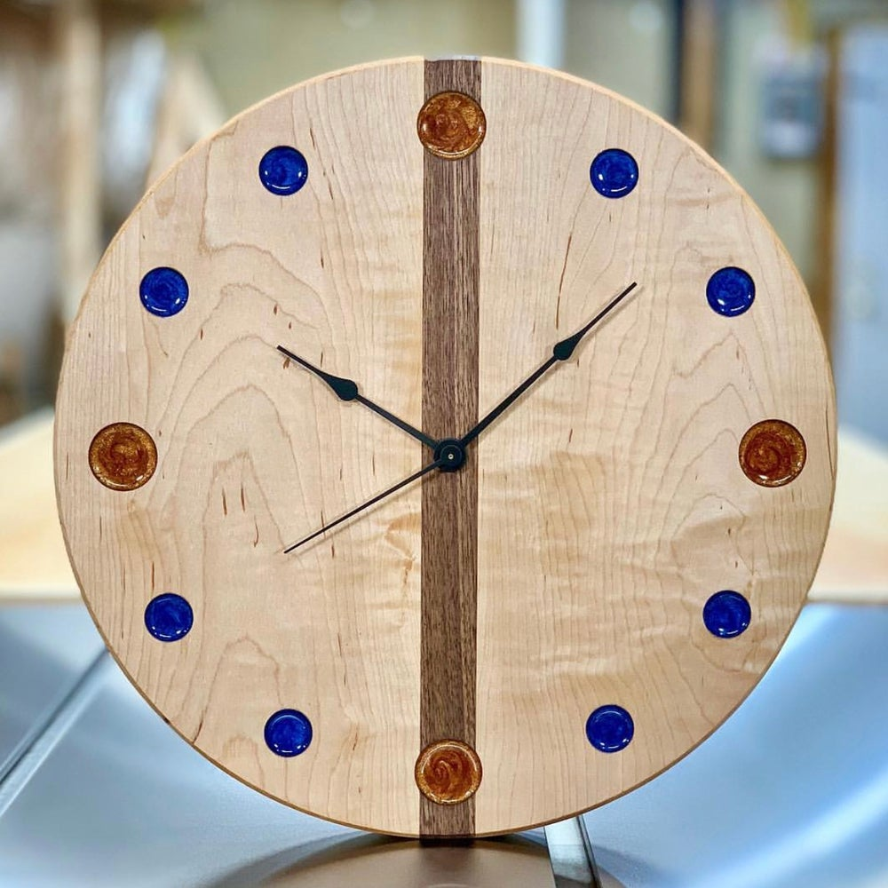 "Image of 14"" Curly Maple and Walnut clock 2"