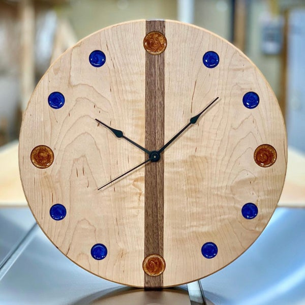 """Image of 14"""" Curly Maple and Walnut clock 2"""