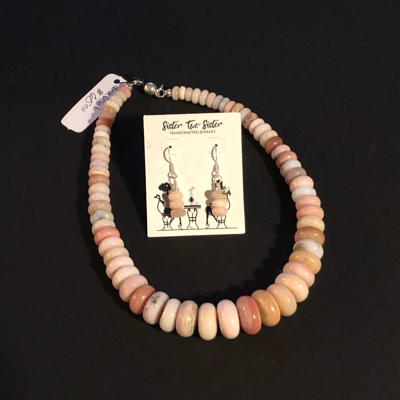 Image of Pink Opal necklace and earring set