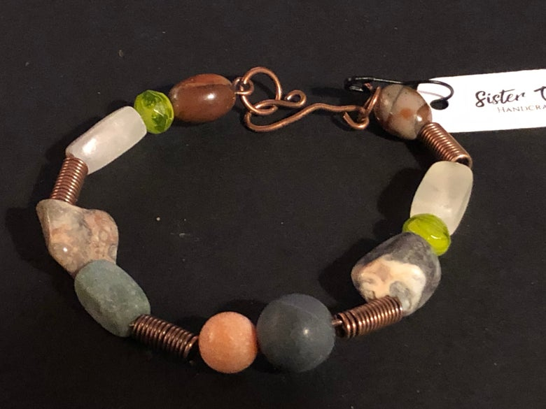 Image of Copper gemstone and stone bracelet