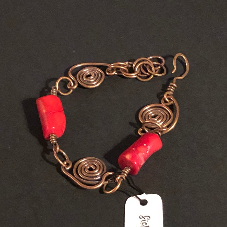 Image of Copper and red bamboo coral bracelet