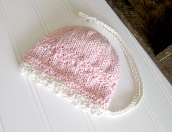 Image of RTS - Harper Victorian Bonnet in Pink with Cream NB
