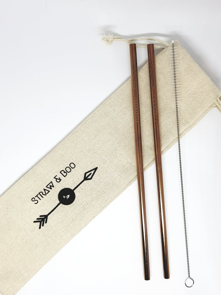 Image of Rose Gold straws 2, 4 or 6 pack
