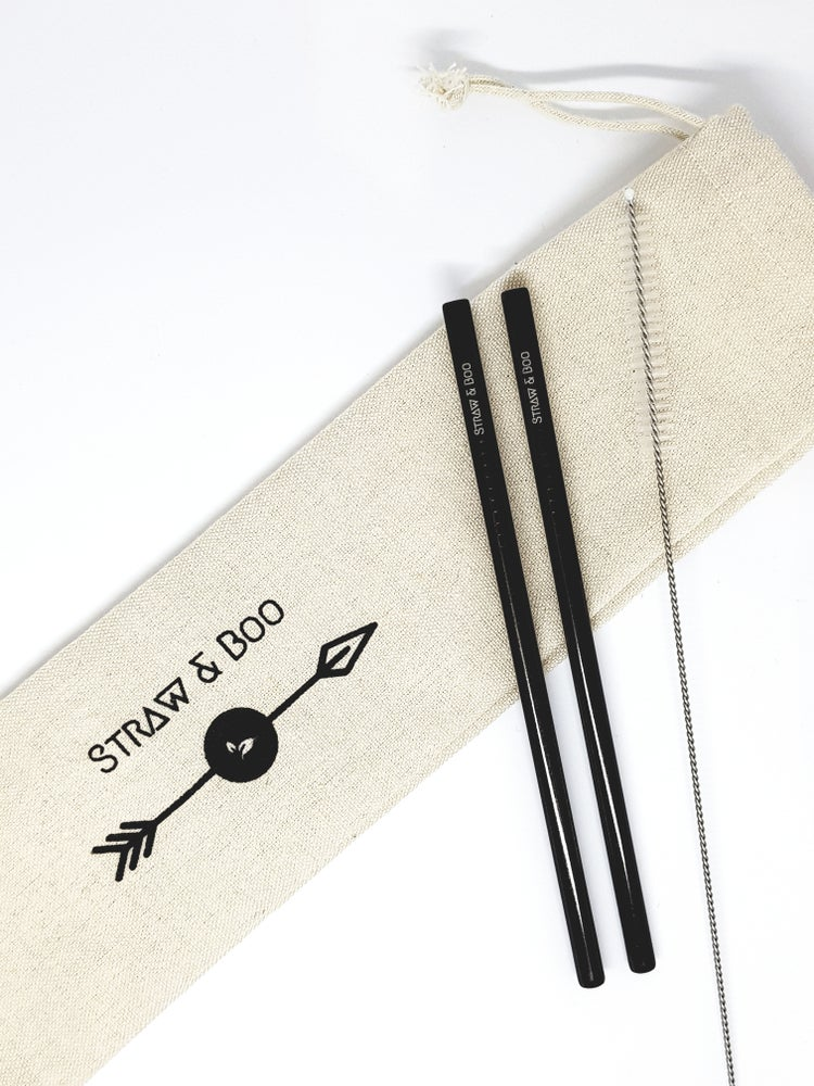 Image of Cocktail straws black - 2, 4 or 6 pack
