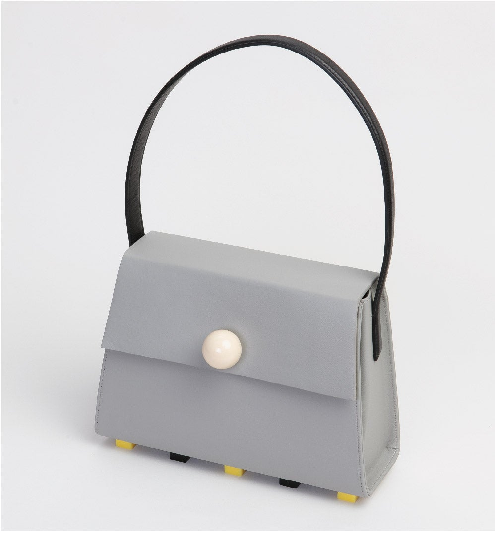 Image of Long Trapezoid satchel bag • Grey with Top Handle
