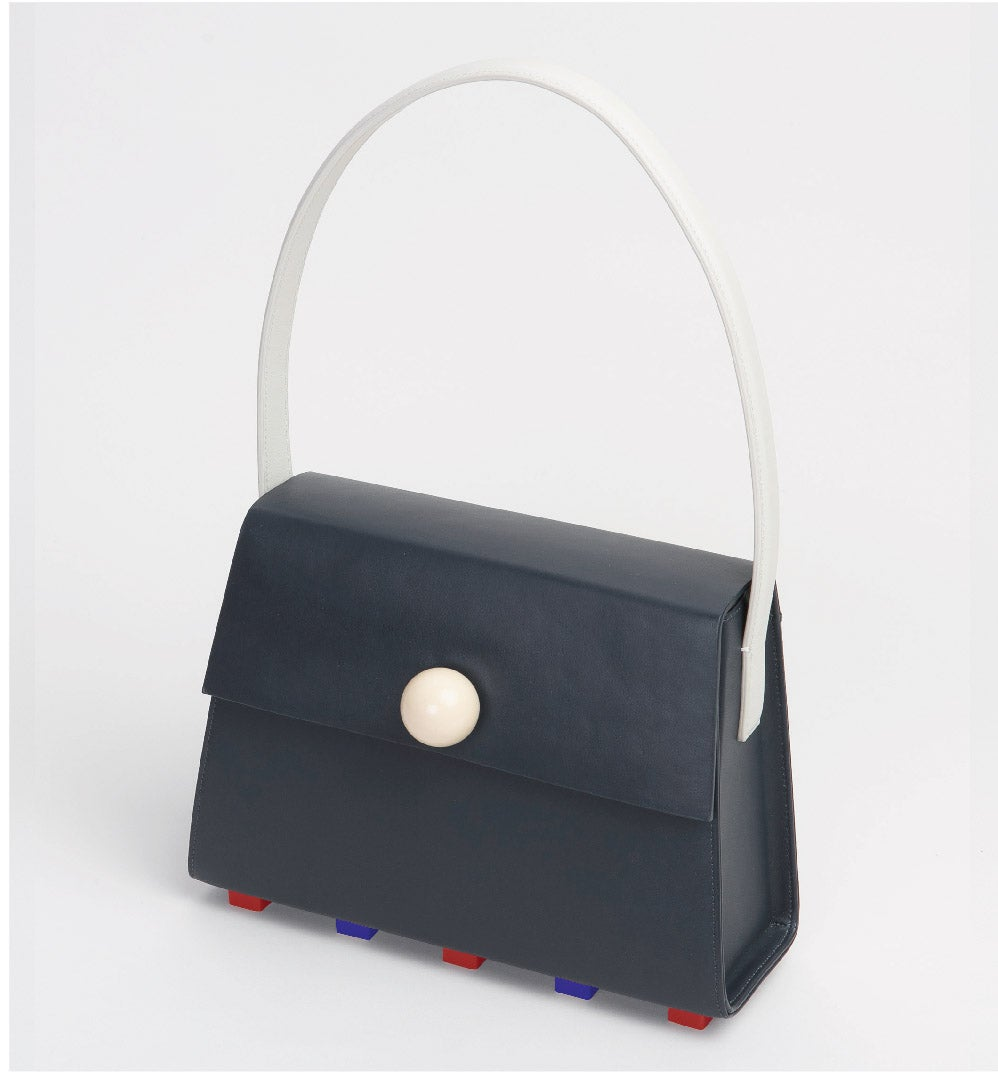 Image of  Long Trapezoid satchel bag • Black with Top Handle