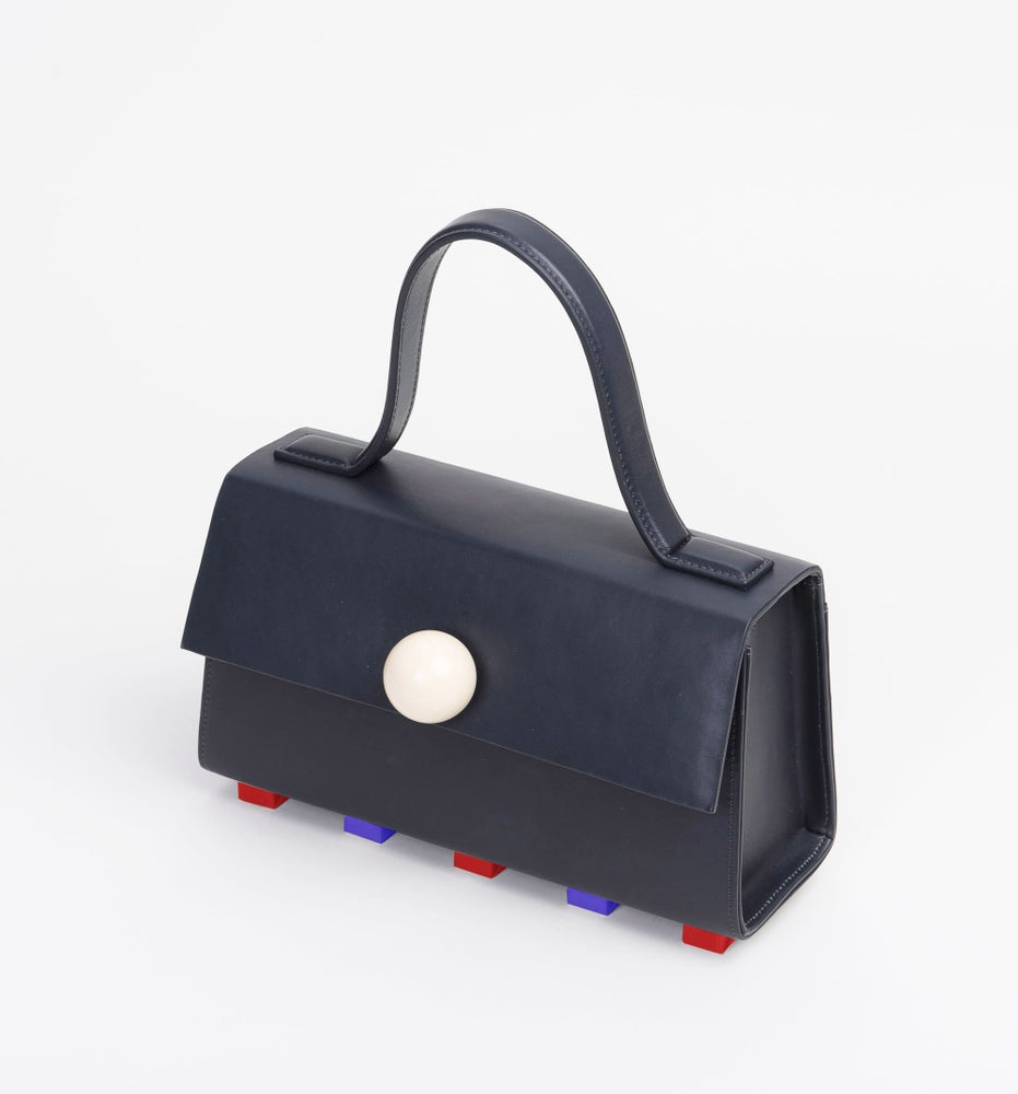 Image of Mini Trapezoid satchel bag • Black with strap
