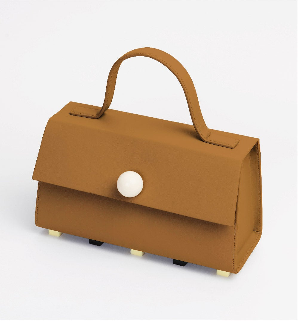 Image of Trapezoid satchel bag • Brown with strap