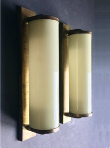 "Image of Pair of 14"" Art Deco Sconces in Brass and Cased Glass"
