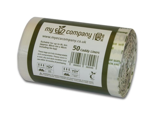 Image of 7 / 8 Litre Biodegradable & Compostable Food Waste Bin Bags With Tie Top - 50 Caddy Liners
