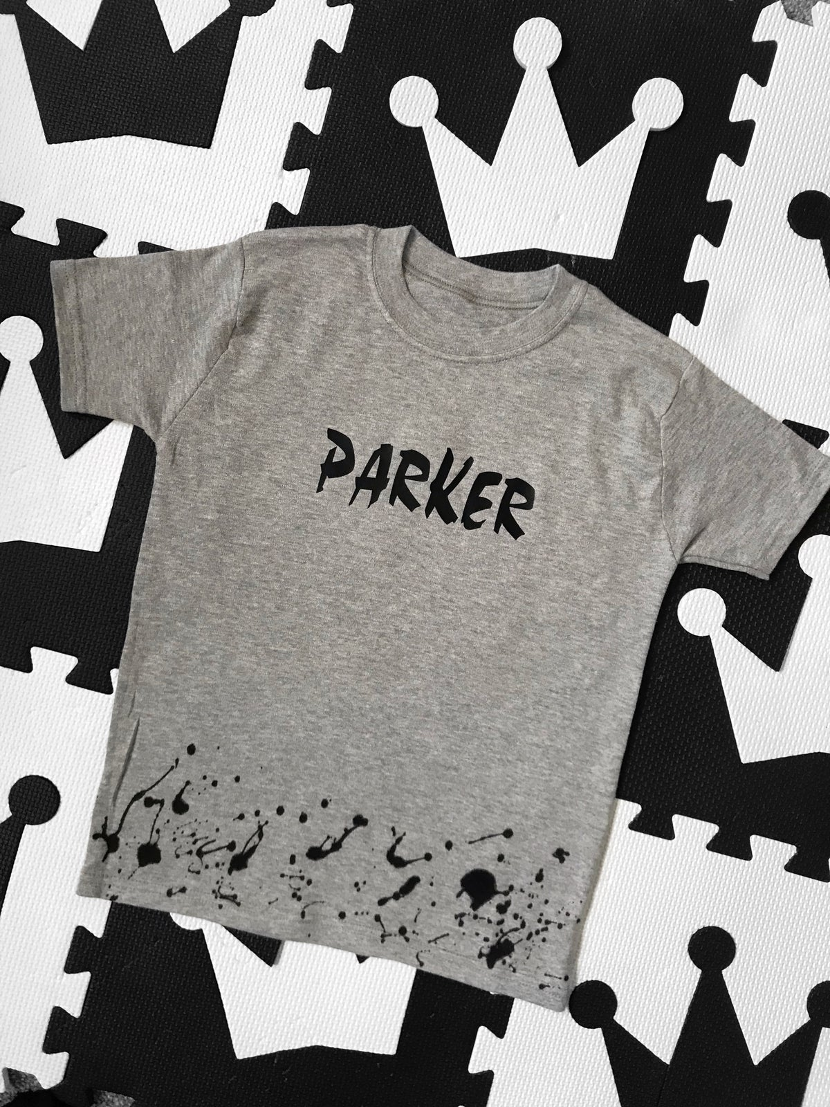 Image of Grey Personalised Splat Tshirt