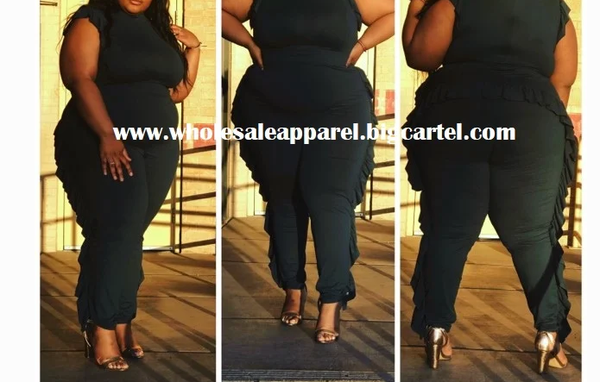 Image of PLUS SIZE One Piece JOGGER SET RUFFLED EDGE RED OR BLACK