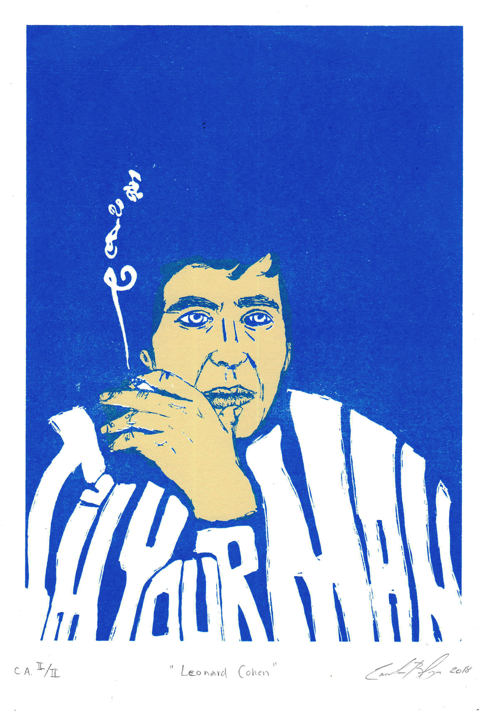 Image of Leonard Cohen - screen printing