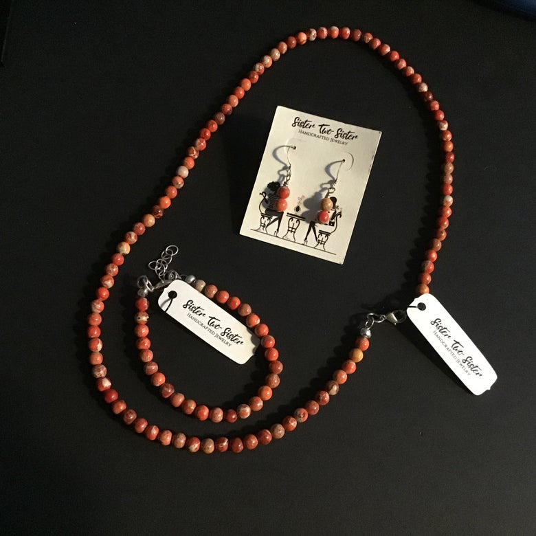 Image of Orange Agate Necklace, Bracelet and Earring Set