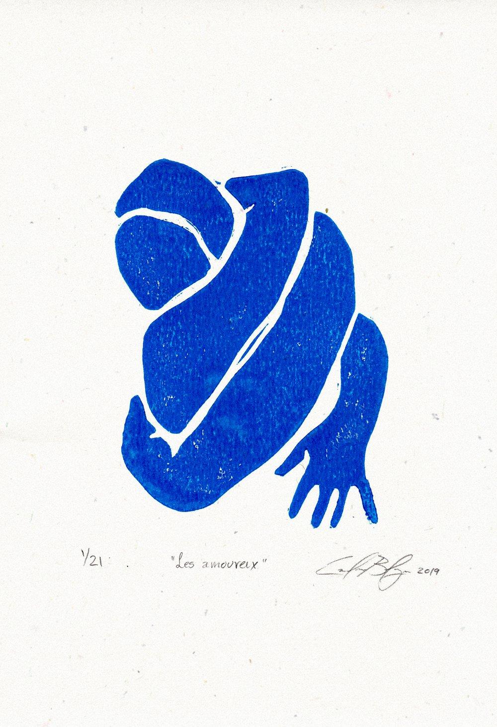 Image of Les amoureux - Linocut