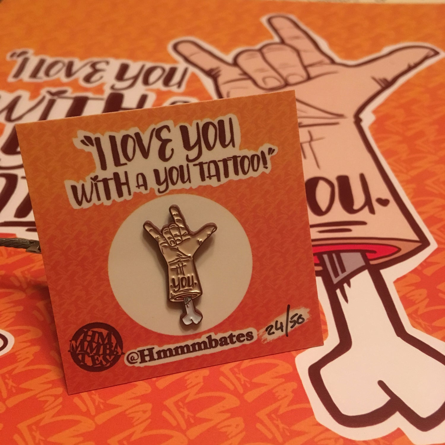 Image of I love you with a you tattoo enamel pin