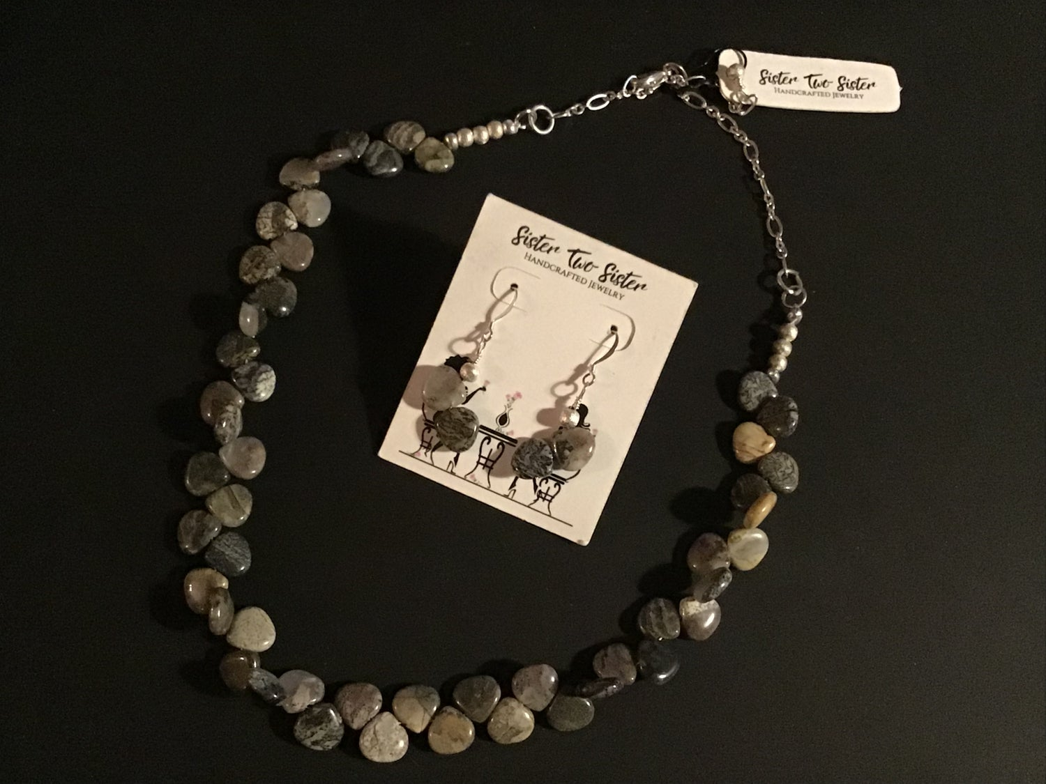 Image of Silver leaf Jasper Necklace and Earring Set