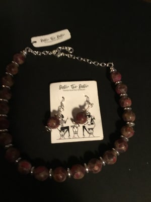 Image of Matted Mixed Jasper Necklace and Earrings