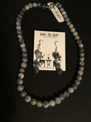 Image of Blue Agate Necklace, Earrings, and Bracelet Set