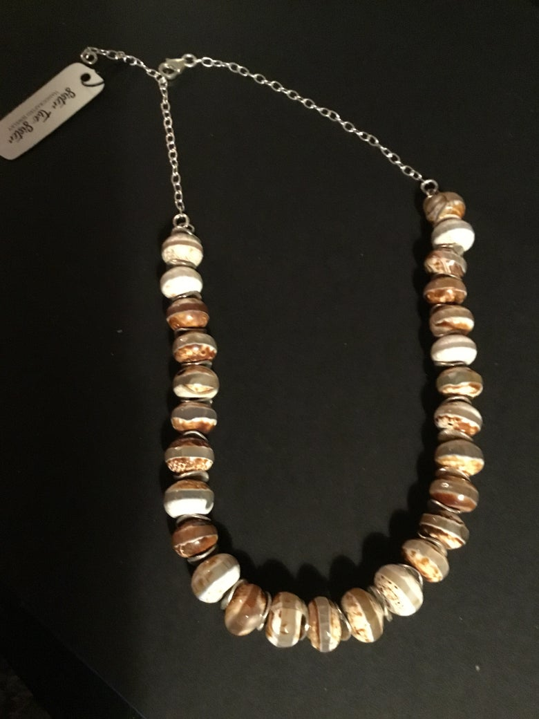Image of Tibetan Agate stone with silver sterling spacers and chain
