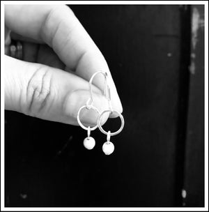 Image of Mini sterling silver hoop earrings