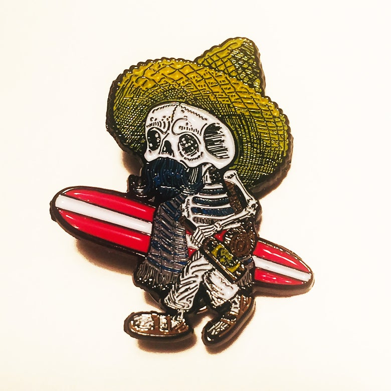 Image of Borracho Surfer Enamel Pin