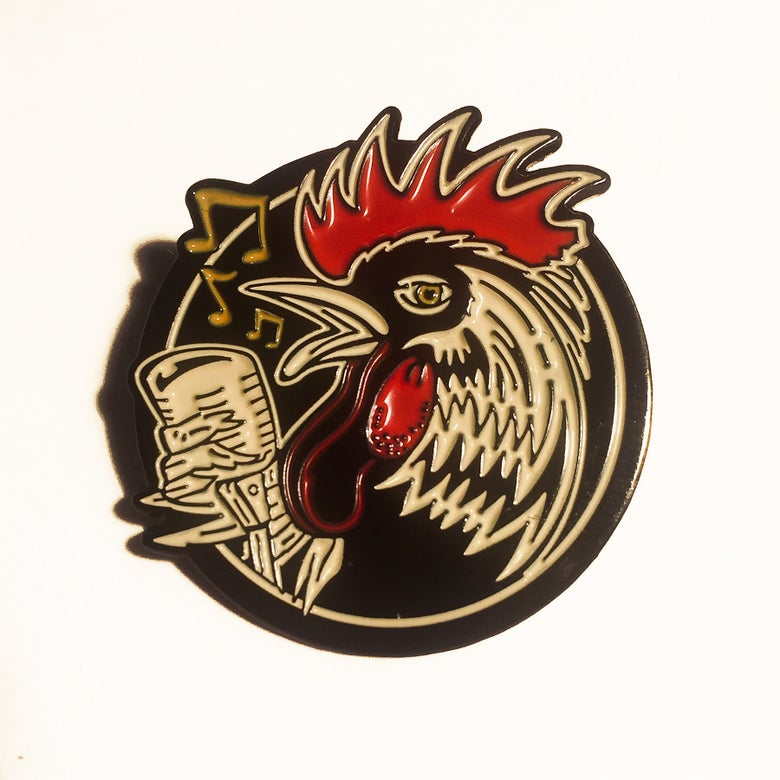 Image of Rockabilly Rooster Enamel Pin