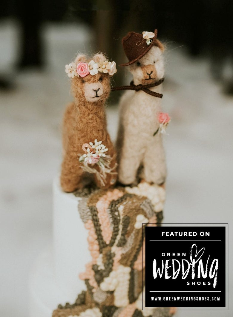 Image of Alpaca Bride Groom Wedding Cake Topper Decoration Alpaca Fiber Pink Brown Beige Wedding Decor