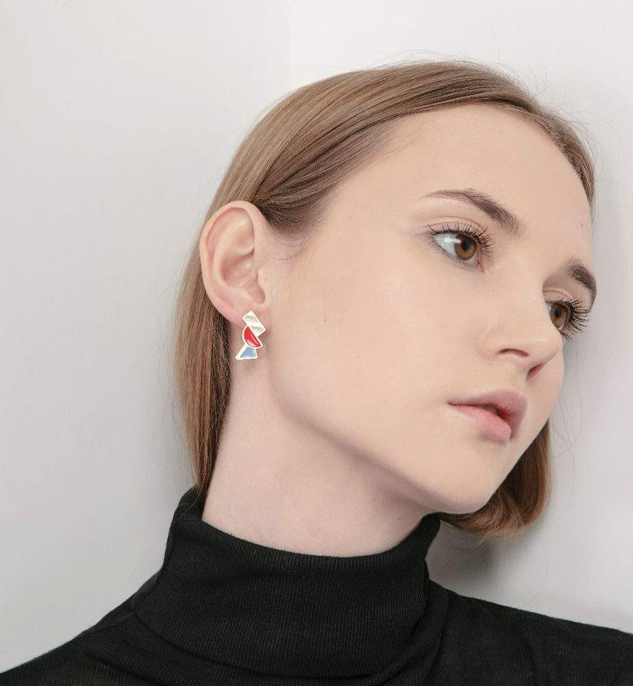 Image of Tilt Earrings • Stainless steel • Silver • red