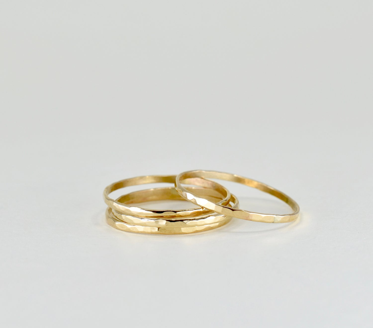 Image of 14k Gold Filled Hammered Stack Ring