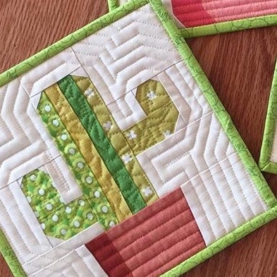 "Image of Saguaro Cactis Quilt Block Pattern - 8"" x 8"""