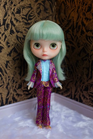 Image of LoungingLinda Brocade Suit Set ~ Purple