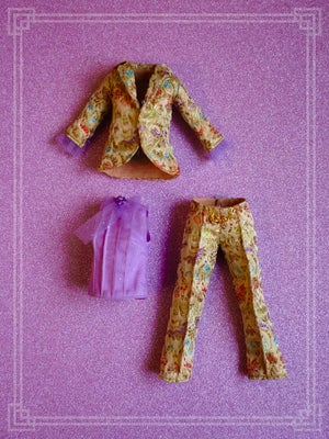 Image of LoungingLinda Brocade Suit Set ~ Gold