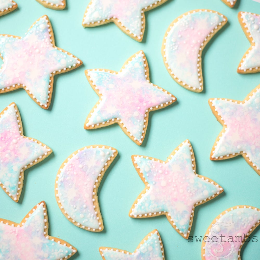 Image of 16 Pastel Galaxy Cookies - FREE SHIPPING