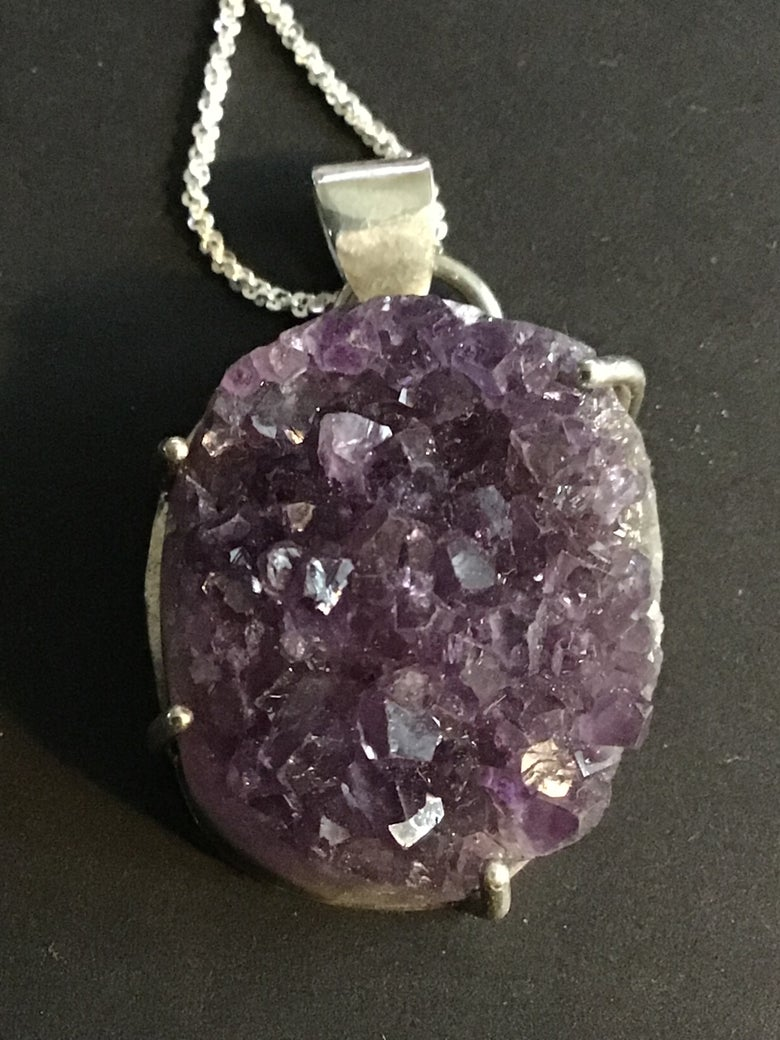 Image of Amethyst Druzy set in Sterling Silver