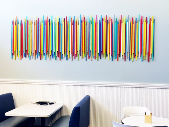 Image of READY TO SHIP NOW: STICKS IN MULTI-COLOR W/ NATURAL NO19 | Modern Art for Sale | Wood Stick Wall Art