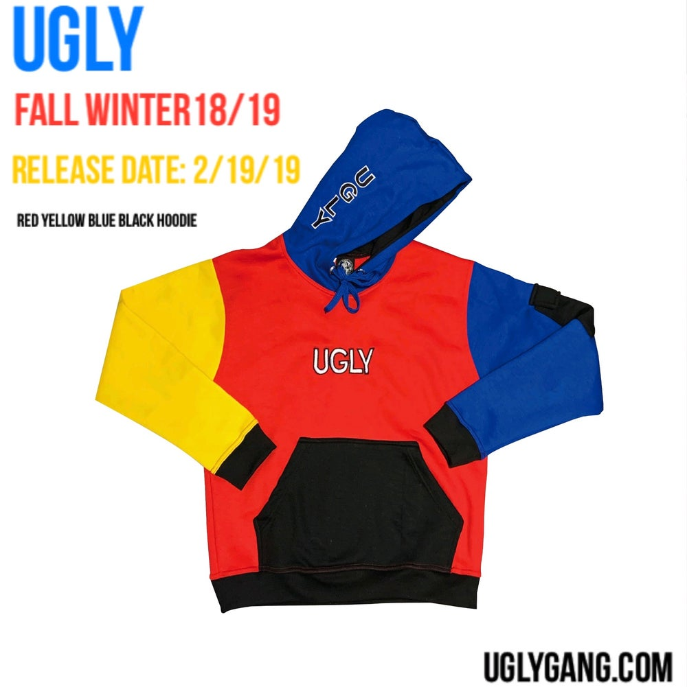 Red yellow blue black hoodie
