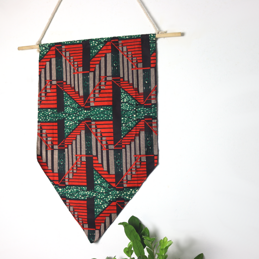 Image of signature wax afrohemian wall hanging (green/orange)