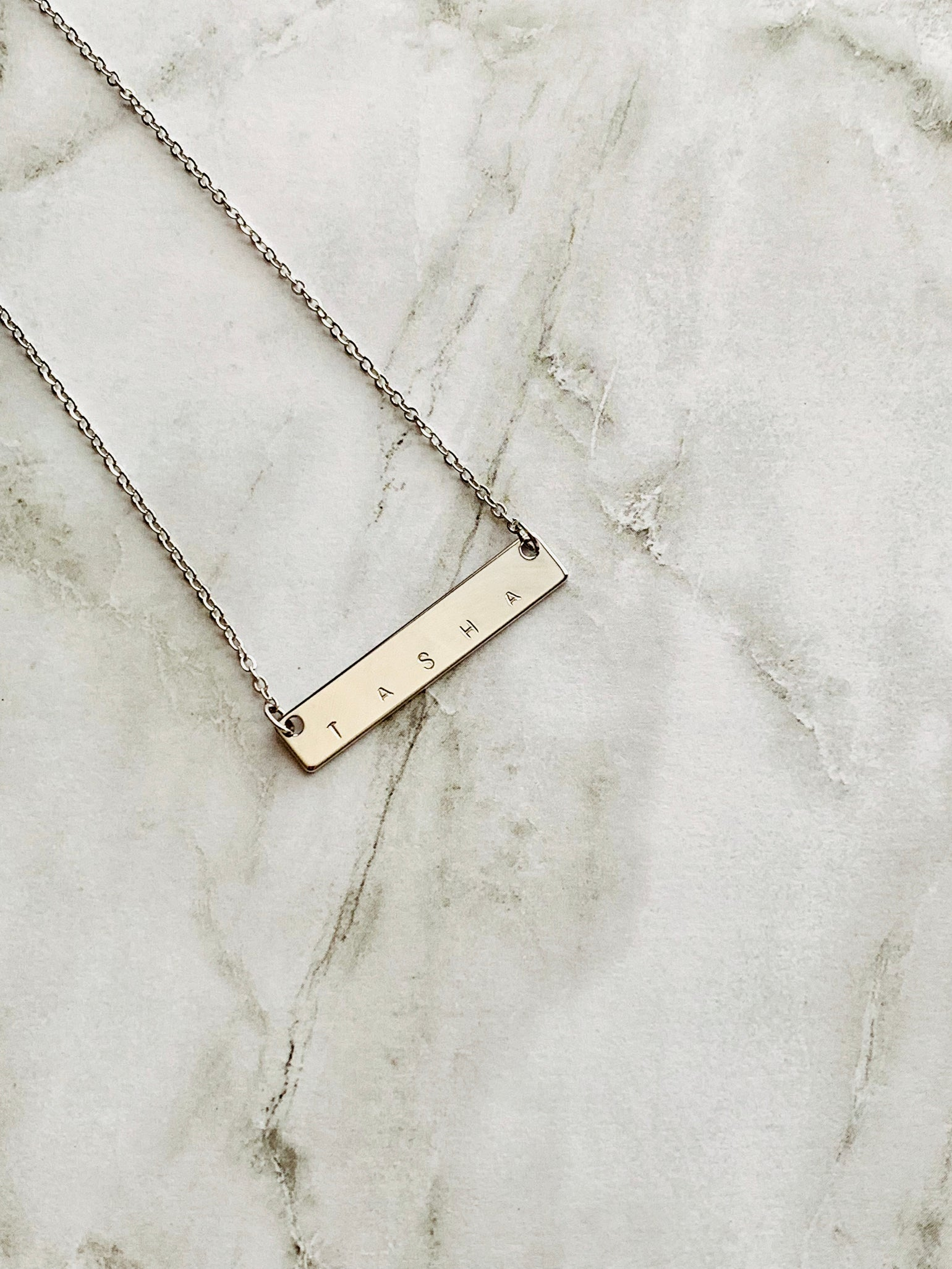 Image of Personalized Silver Bar Necklace