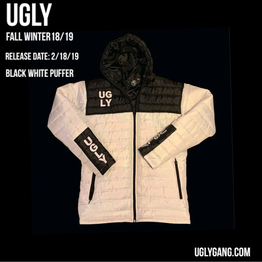 White & black puffer jacket