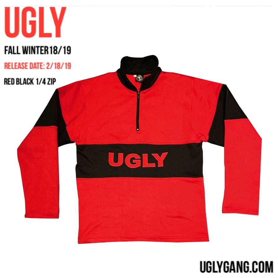 Image of Red & black 1/4 zip jacket