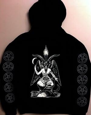 Image of Pentagram - Hoodie with Baphomet back + with Sleeve prints