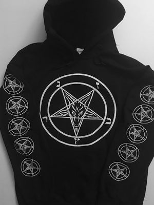 Image of Pentagram - Hoodie with Baphomet back + with Sleeve prints