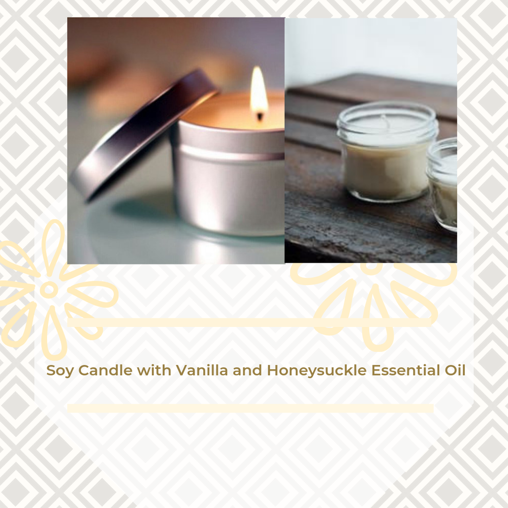 Image of Soy Candle with Vanilla and Honeysuckle Essential Oil