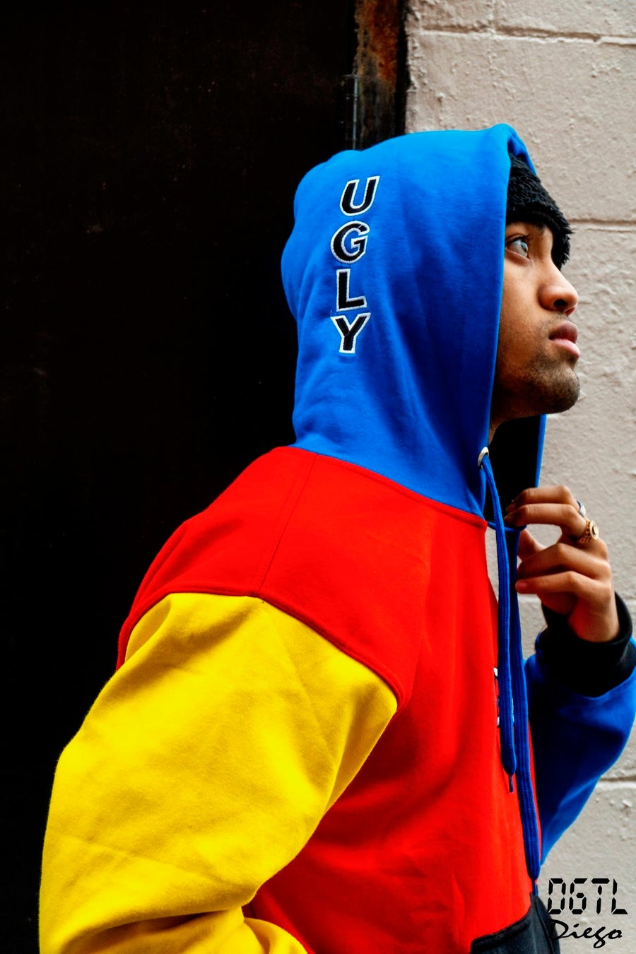 Image of Red yellow blue black hoodie