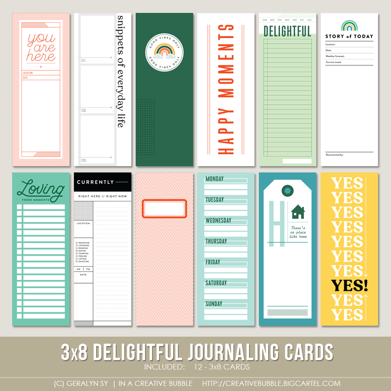 Image of 3x8 Delightful Journaling Cards (Digital)
