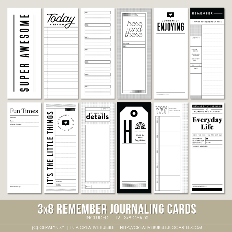 Image of 3x8 Remember Journaling Cards (Digital)