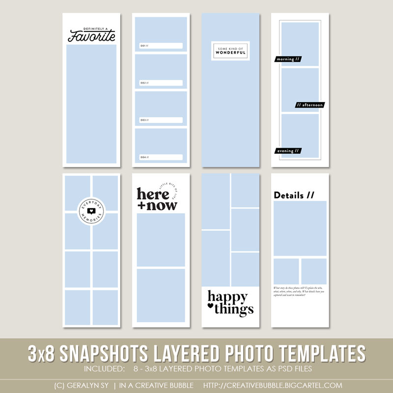 Image of 3x8 Snapshots Layered Photo Templates (Digital)