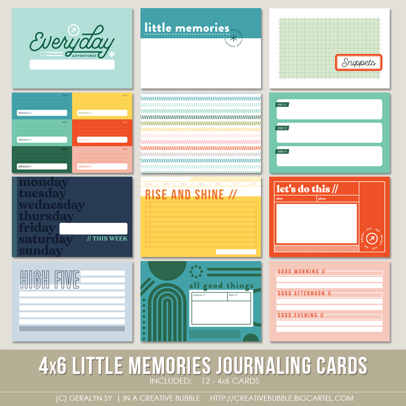 Image of 4x6 Little Memories Journaling Cards (Digital)