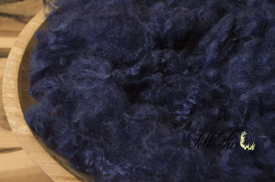 Image of Dark Blue Basket Filler Fluffy Curls Baby Felt Prop (3), Newborn Photo Prop. RTS